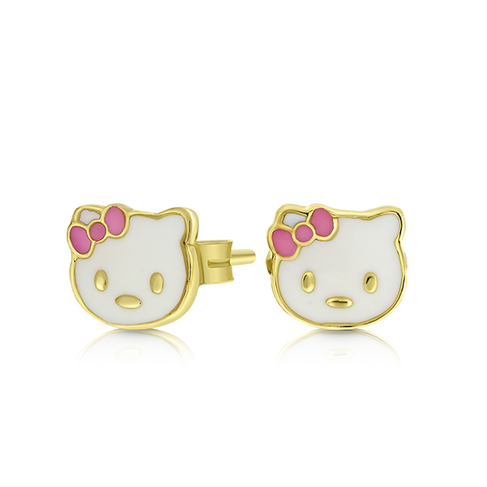 Hello Kitty Gold Earrings Ceoy8977 Bijuteria Stil