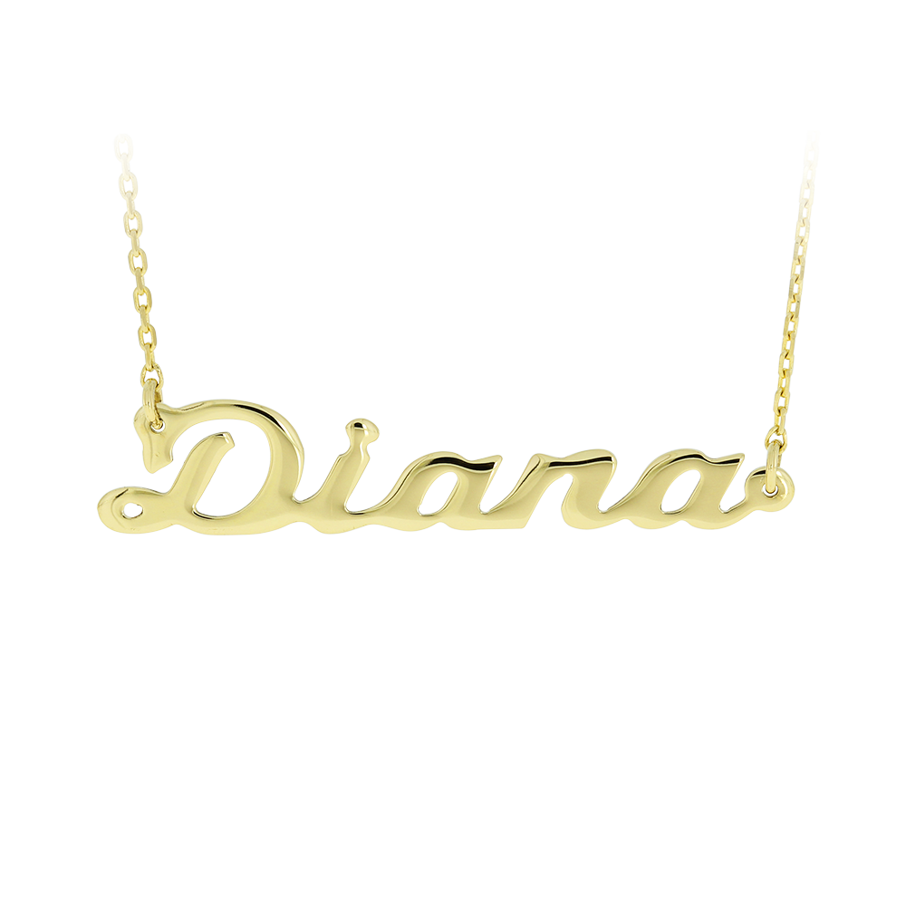 Gold Chain Name Diana Bijuteria Stil