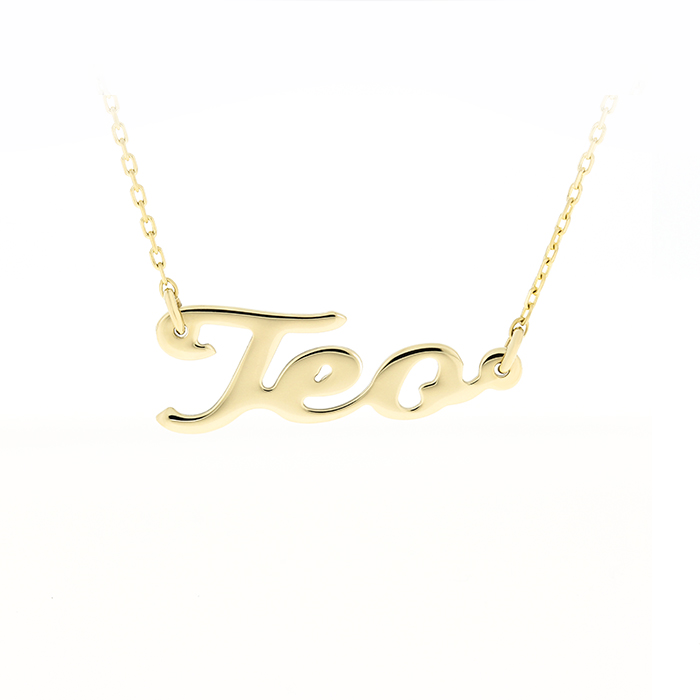 Gold Chain Name Teo Bijuteria Stil
