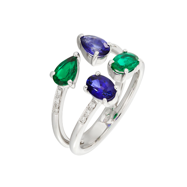 Ring With Diamonds, Emeralds And Sapphires Indbw00 Bijuteria Stil