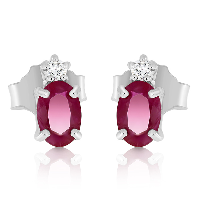 Diamond And Ruby Earrings Ceddi0007 Bijuteria Stil
