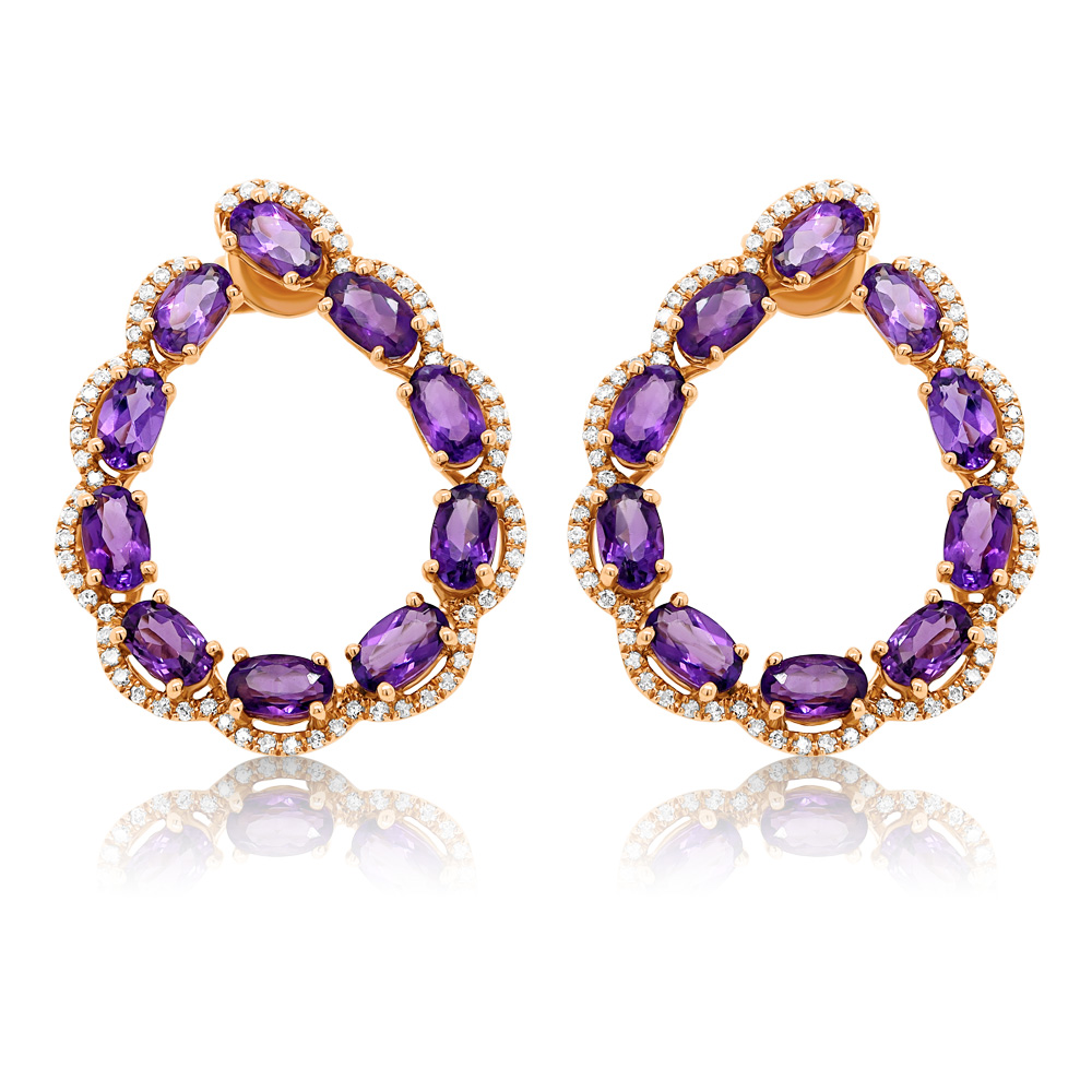 Diamond And Amethyst Earrings Ocedfp08975 Bijuteria Stil