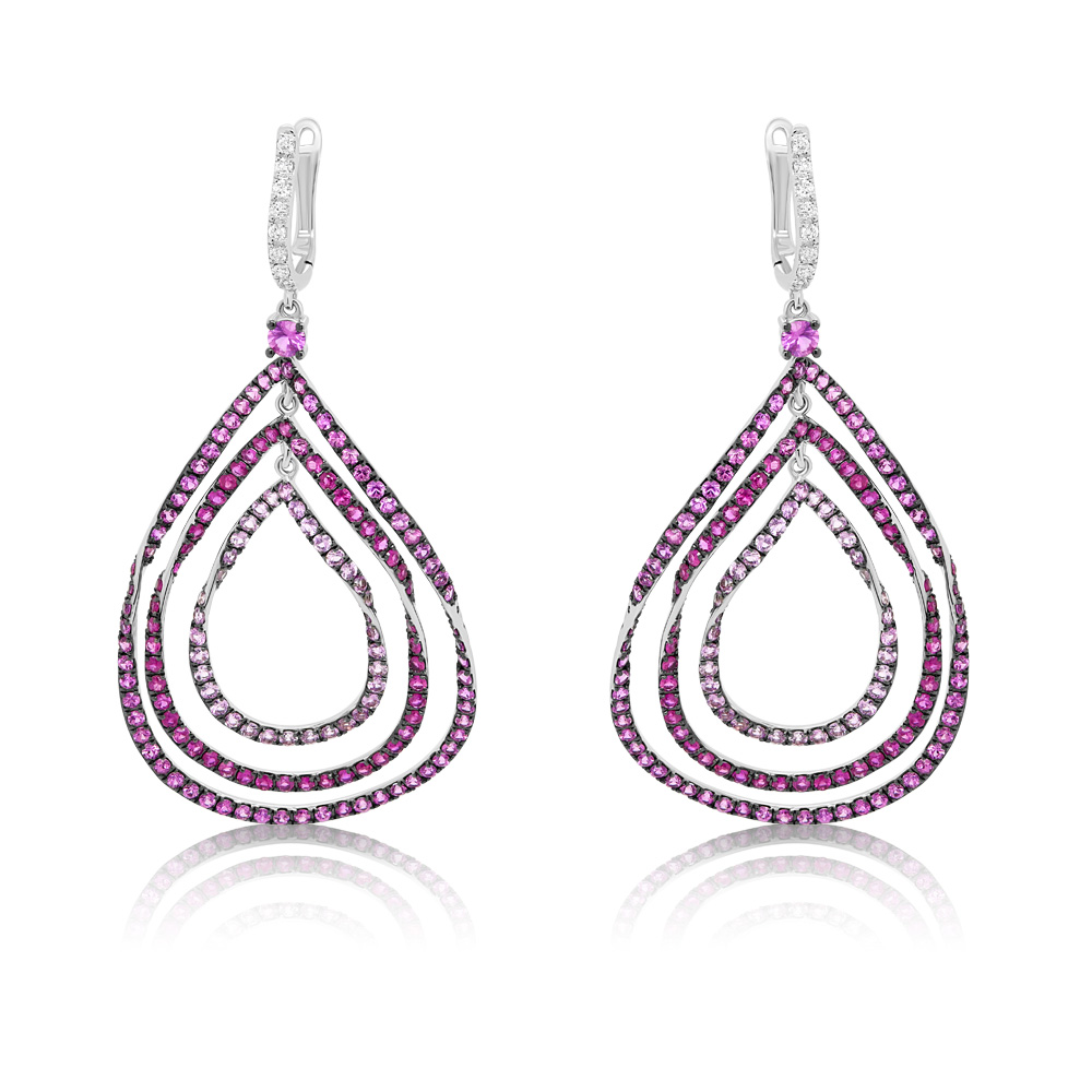 Diamond, Sapphire And Ruby Earrings Ocedfp08980 Bijuteria Stil