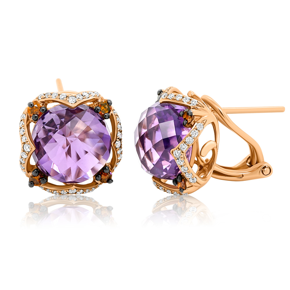 Diamond And Amethyst Earrings Ocedfp08990 Bijuteria Stil