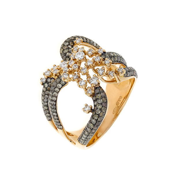 Gold Ring With Colored Diamonds Indgvln08 Govoni