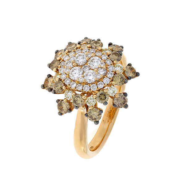 Gold Ring With Colored Diamonds Indgvln0k Govoni