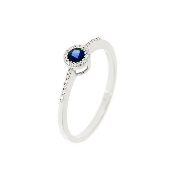 Gold Ring With Diamonds And Sapphire Indrk0132 Bijuteria Stil