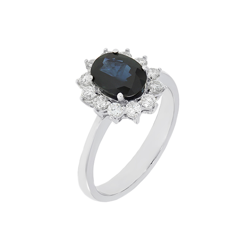 Gold Ring With Diamonds And Sapphire Indrk0158 Bijuteria Stil