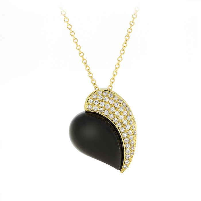 Gold Necklace With Diamonds And Onyx Lpdan0068 Bijuteria Stil