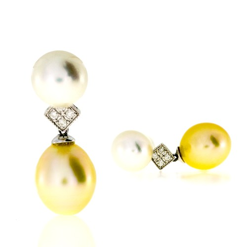 Earrings With Diamonds And Pearls Cedsp5576 Bijuteria Stil