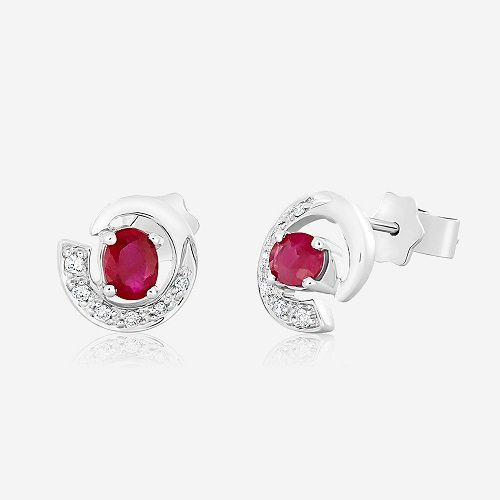 Gold Earrings With Diamonds And Rubies Cedkwa184 Bijuteria Stil